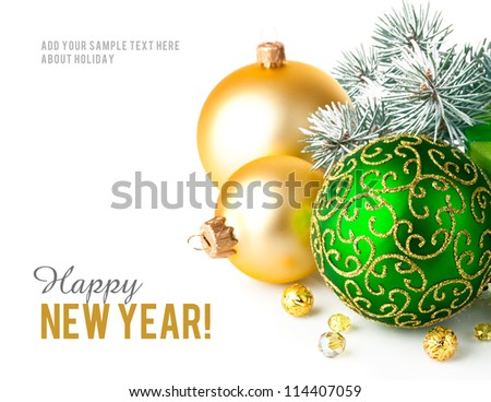 christmas green gift with firtree branch isolated on white background - stock photo