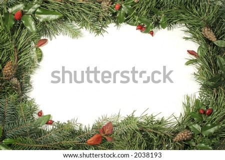 Christmas greenery and decorations - stock photo
