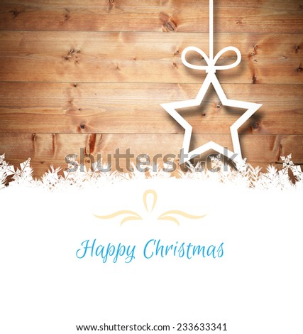 Christmas greeting card against christmas decorations over wood