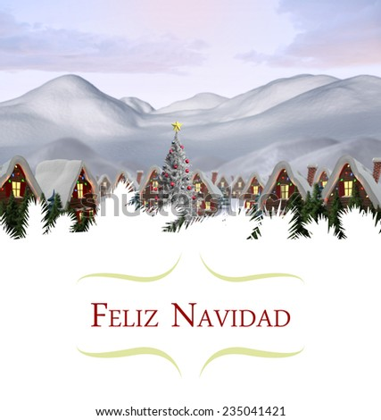 Christmas greeting card against cute village in the snow - stock photo