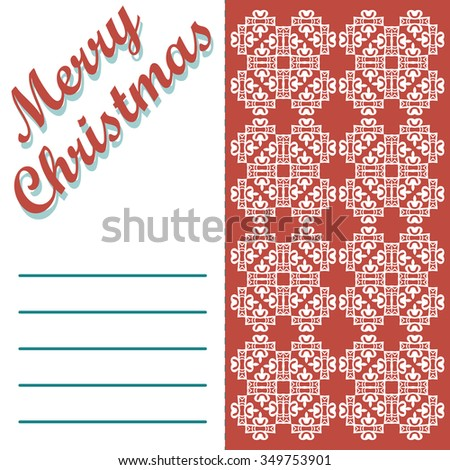 Christmas greeting card and patterns background. Merry Christmas holidays wish design and vintage ornament decoration. Happy new year message. - stock photo