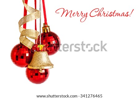 "Christmas greeting card. Balls, jingle bells, ribbons,decoration. ""Merry Christmas!"" - stock photo"