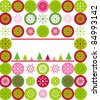 Christmas greeting card cover with green, red, pink snowflakes, Christmas trees and copy space in raster format - stock photo