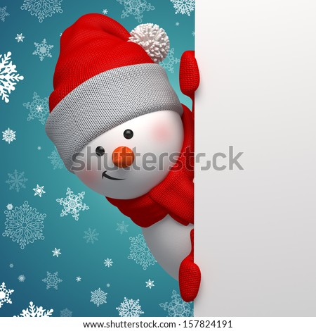 Christmas greeting card, 3d snowman looking at camera and holding blank page - stock photo