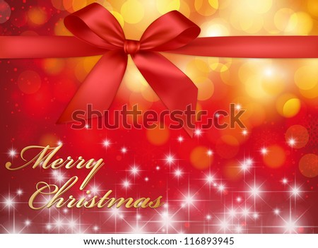 "Christmas Greeting Card ""Merry Christmas"" with ribbon and stars"