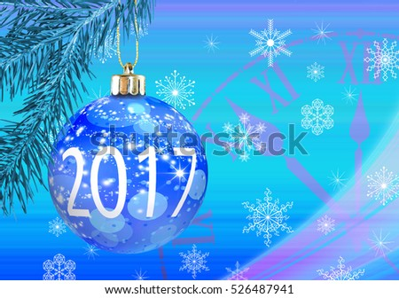 Christmas greeting card on bright background Christmas ball.