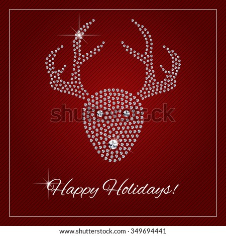 Christmas greeting card, poster. Shimmering diamond luxury Rednosed Reindeer. Template with a glamour design element and a place for your text. Raster version.