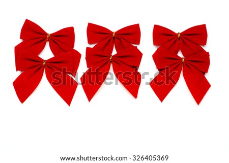 Christmas greeting card white background. Christmas bowtie isolated on white.  Merry Xmas wintertime greeting card. Happy New Year 2016