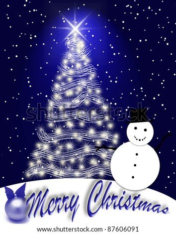 Christmas greeting card with a Christmas tree and a snowman. - stock photo