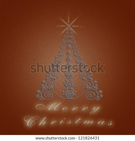 Christmas greeting  card with a tree in red tones - stock photo