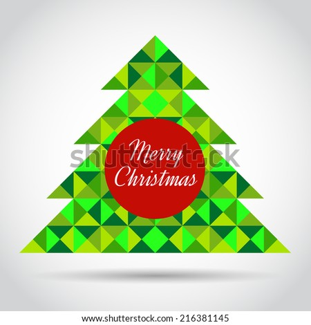 Christmas greeting card with abstract geometric tree