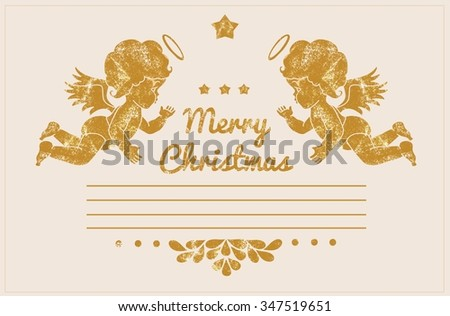 Christmas greeting card with angels. Vintage illustration with gold elements - stock photo