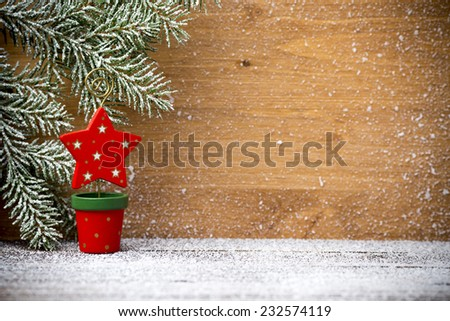 Christmas greeting card with Christmas decorations. - stock photo