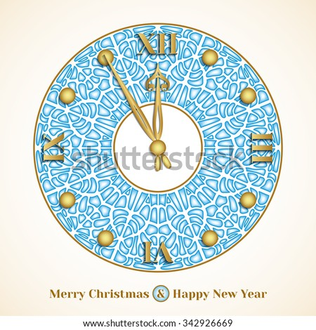 Christmas greeting card with clock on background of cracked pieces of ice - stock photo