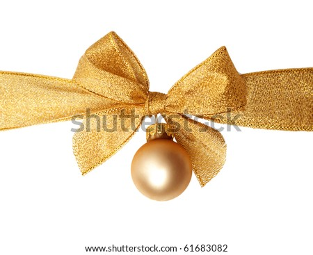 christmas greeting card with decorative ribbon and christmas ornament - stock photo