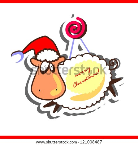 Christmas greeting card with funny sheep