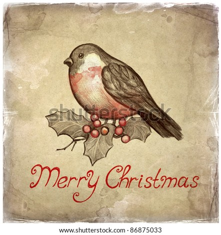 Christmas greeting card with illustration of bullfinch - stock photo