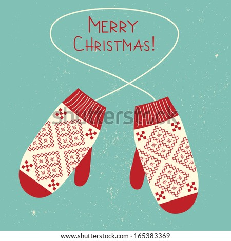Christmas greeting card with knitted  mittens.  - stock photo