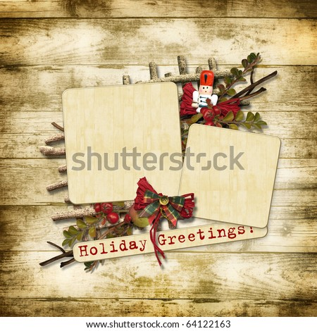 Christmas greeting card with nutcracker - stock photo