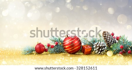 Christmas Greeting Card With Ornament On Golden Background  - stock photo