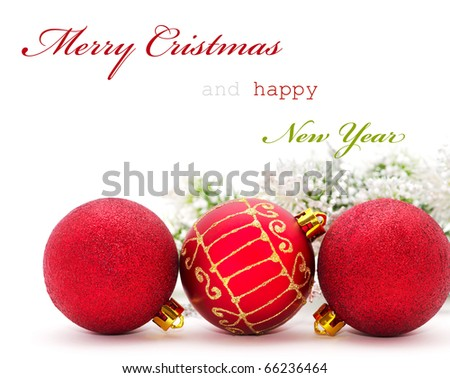 Christmas greeting card with red baubles and sample text - stock photo