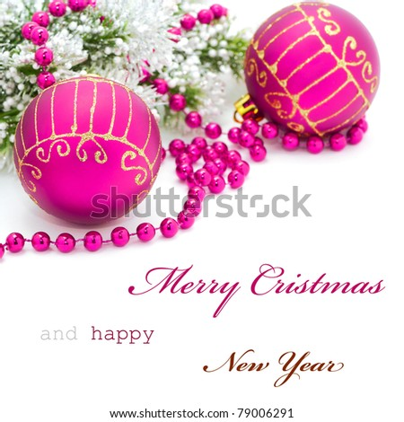 Christmas greeting card with simple text - stock photo