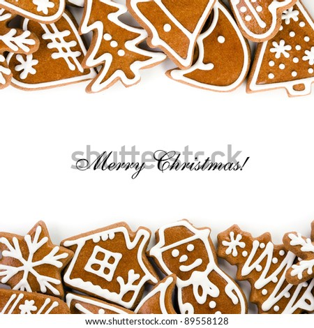 Christmas greeting card with sweet gingerbread