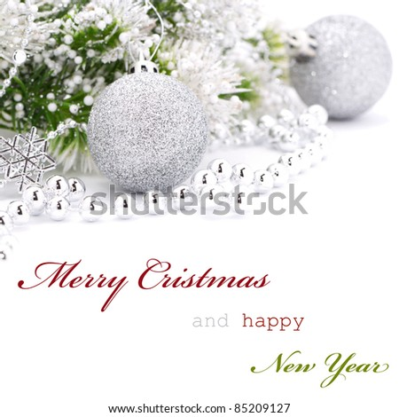Christmas greeting card with text - stock photo