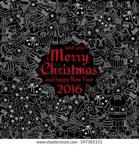 Christmas greeting card with text wish you a Merry Christmas and many winter doodles. Santa, toys, cookies, snowmen, fir, candies, socks, gifts, bows, snowflakes, stars, hollies, mittens, etc. - stock photo