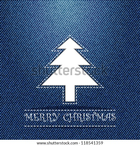Christmas greeting card, with white Christmas tree on blue jeans texture, raster copy - stock photo