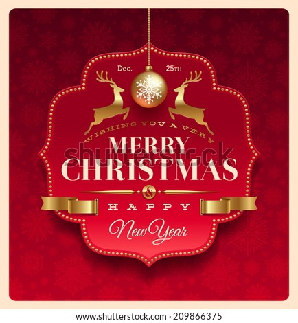 Christmas greeting decorative label - stock photo