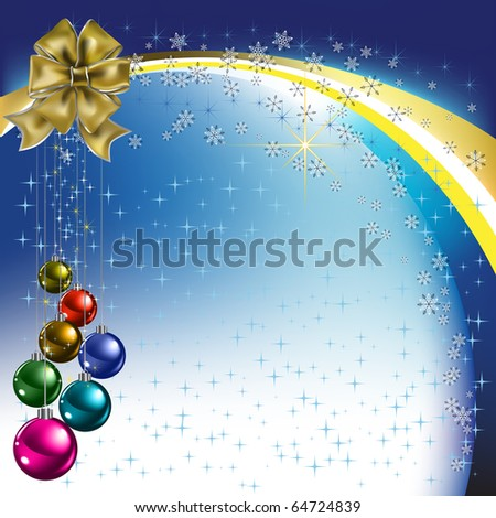 christmas greeting gold bow with colored balls