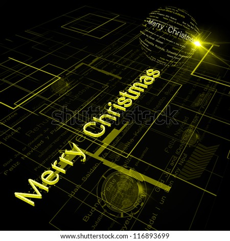 Christmas Greeting on Background of Technology with earth globe. Elements of this image furnished by NASA