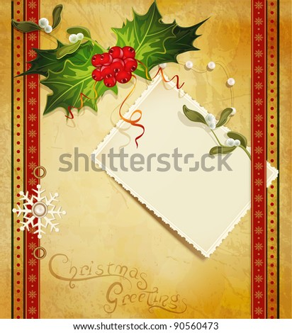Christmas greeting with holly and a greeting card (JPEG version) - stock photo