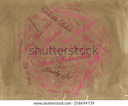 """Christmas greetings in many languages on an old greeting card (all languages say """"Merry Christmas"""") - stock photo"""