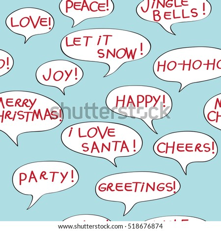 Christmas greetings seamless pattern comics speech stock christmas greetings seamless pattern with comics speech bubbles cartoon elements over a blue background m4hsunfo