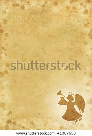 Christmas grunge background with angel - stock photo