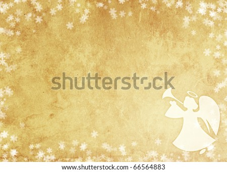 Christmas grunge background with angel. Paper texture - stock photo