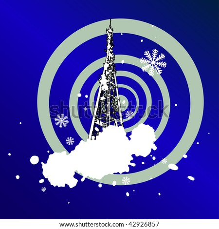 christmas grunge background with Television tower. XXL jpeg image made from vector - stock photo