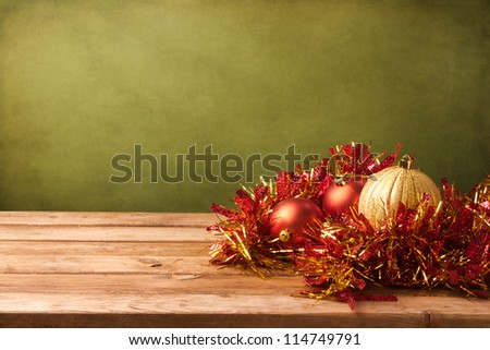 Christmas grunge background with wooden deck tabletop - stock photo