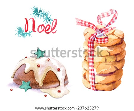 Christmas hand drawn paint winter watercolor cake and cookies set. - stock photo