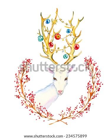 Christmas hand drawn paint winter watercolor deer and Christmas wreath - stock photo