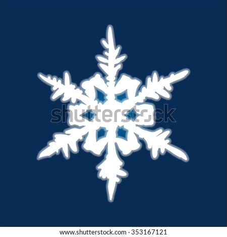 Christmas hand-drawn snowflake on deep blue background. Raster version. - stock photo