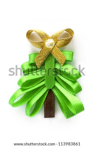 Christmas handmade ribbon fir tree with gold bow. Isolated white background. - stock photo