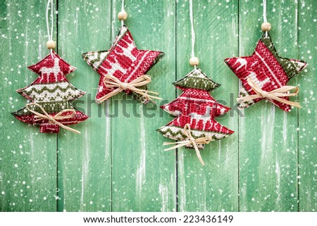 Christmas hanging decorations - stock photo