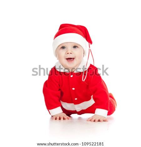 Christmas happy baby  is crawling. Isolated on white background. - stock photo