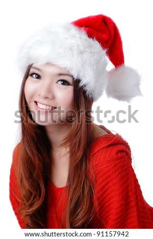 Christmas Happy Girl smile face with red cloth and hat, Model is a cute asian beauty, isolated on white background - stock photo