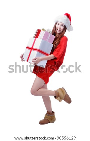 Christmas happy Girl Smile Holding Gift Box, Model is a cute Asian beauty,  isolated on white background - stock photo