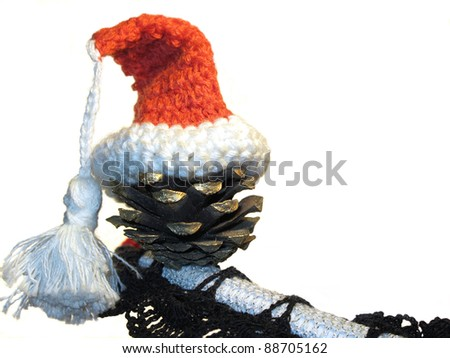 Christmas hat on pine cone