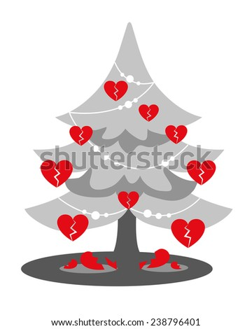 Christmas Heartbreak: a gray Christmas Tree with red broken heart shaped baubles and shattered hearts on the floor. Some sad souls are having hard times this winter: Xmas troubles and breakups.Drawing - stock photo